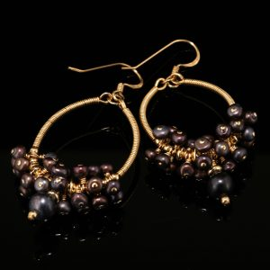 1026-gold-oval-hoop-chocolate-pearl-cluster-earrings-land-and-sea-jewelry-2