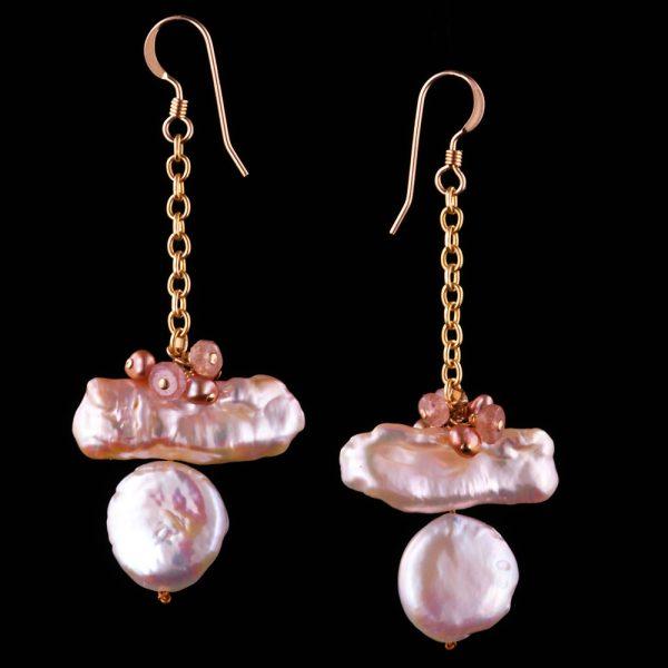 1201-Keshi-biwa-stick-coin-pink-pearl-earring-land-and-sea-jewelry