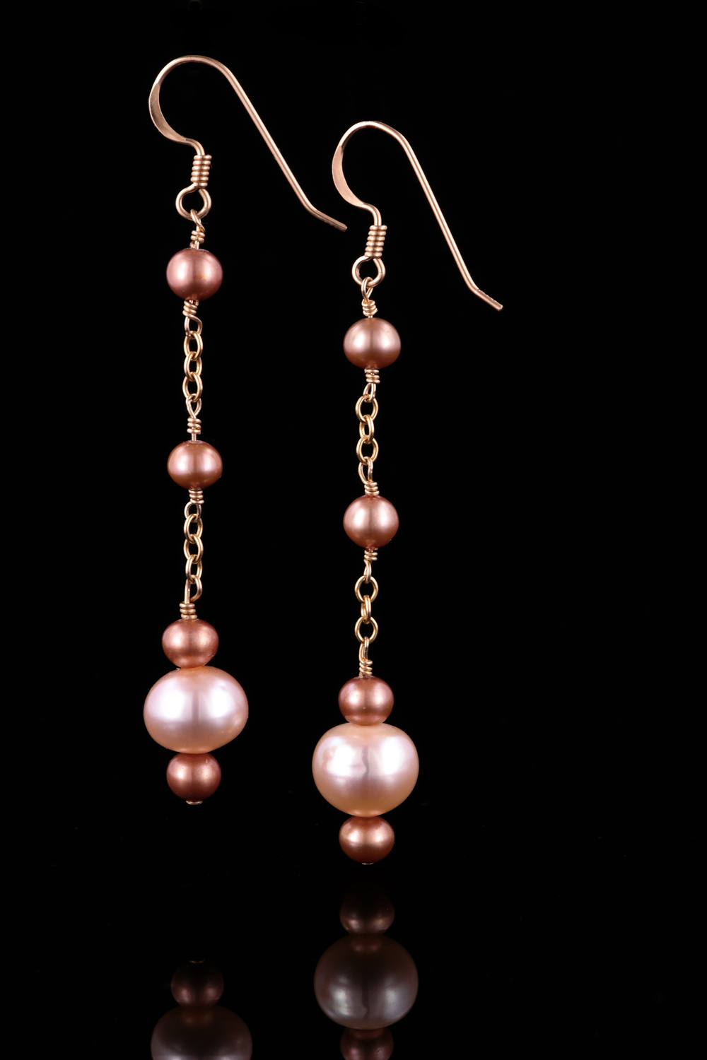 Pink Champagne Copper Pearl Gold Dangle Earrings Land And Sea Jewelry