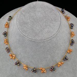 2102-Burgundy-night-blue-orange-pearl-gold-chain-necklace-land-and-sea-jewelry