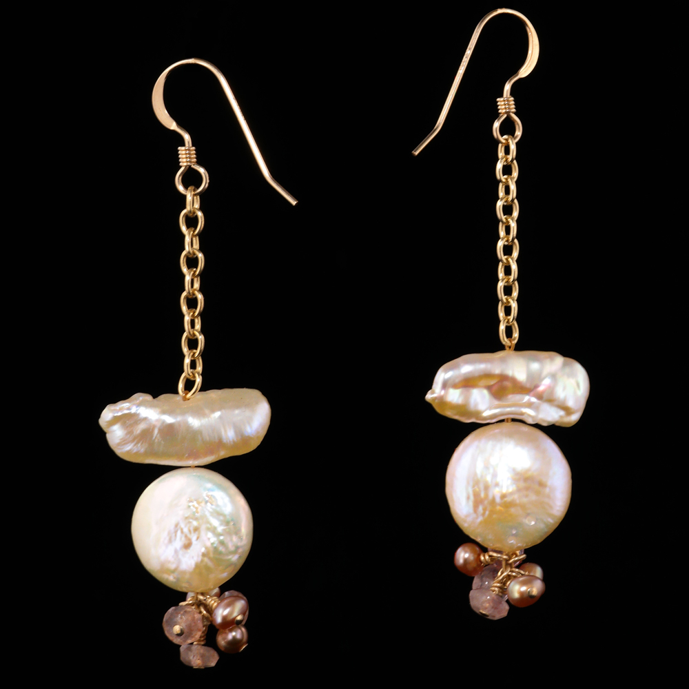 Keshi Biwa Coin Pearl Earrings In Pink