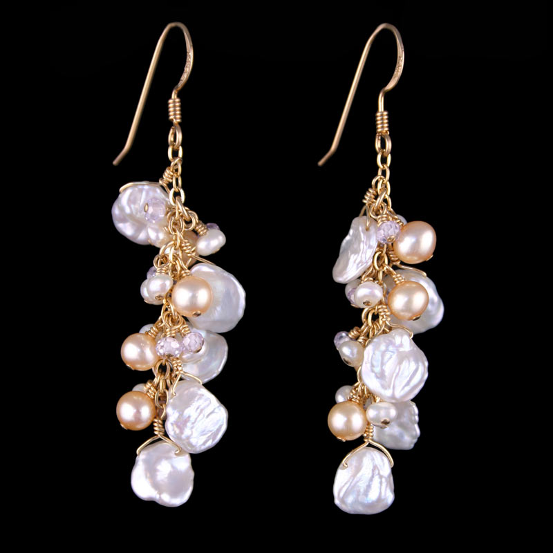 Ivory Keshi Pearl Dangle Earrings Land And Sea Jewelry
