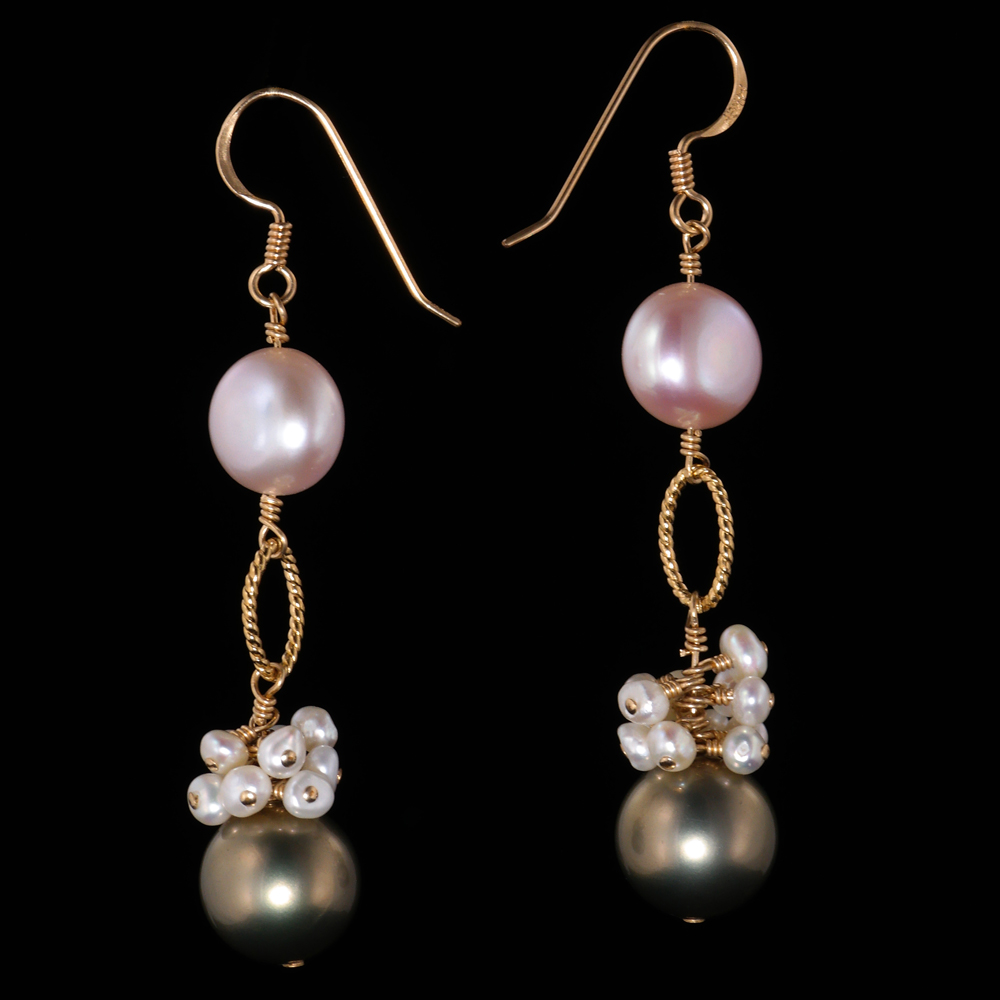 infant pearl earrings grey pink pearl gold dangle earrings land and sea jewelry 1333