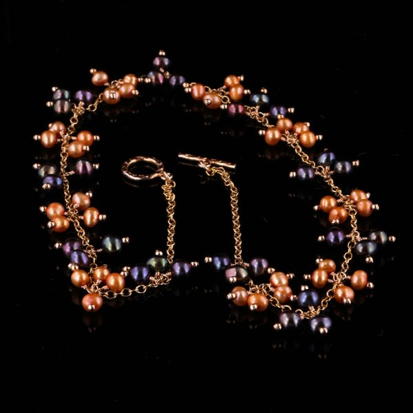 2102-A-Burgundy-night-blue-orange-pearl-gold-chain-necklace-land-and-sea-jewelry
