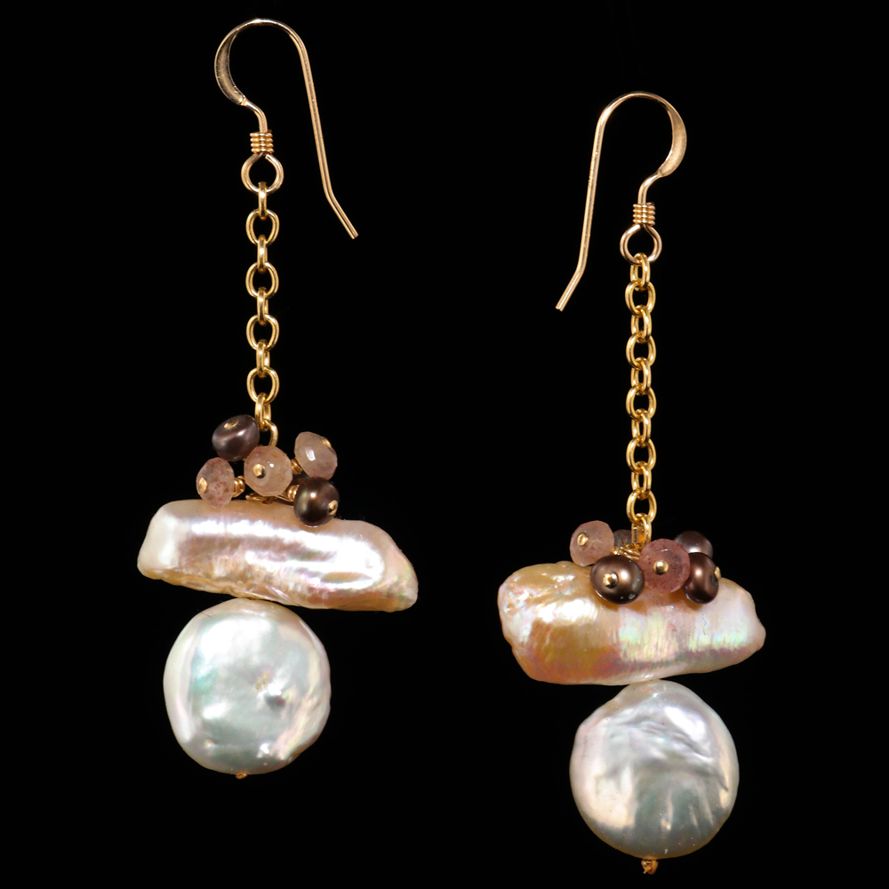 Keshi Biwa Coin Pearl Earrings In Chocolate